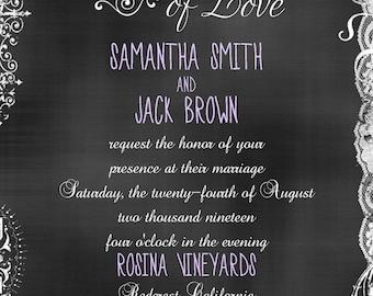 Decorative Chalkboard Wedding Invitation and RSVP