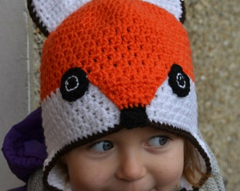 Handmade Crochet Fox hat, Girls hat, Orange Fox hat, Character Hat, Animal hat
