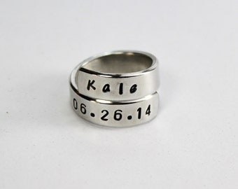 Name And Date Wrap Ring, Personalized Name And Special Date Ring, Customized Anniversary Aluminum Spiral Ring