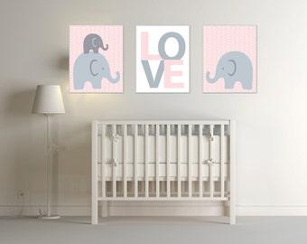 Elephant Nursery Art and Love Wall Art Prints. Suitable For a Baby Girl Pink Gray Nursery. Girl Bedroom Decor H252 - Unframed