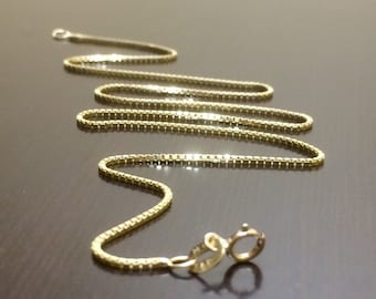 14K Gold Box Chain - 14K Yellow Gold Necklace - Gold Box Chain - Box Chain Necklace - Yellow Gold Necklace - Fine Necklace - Gold Jewelry