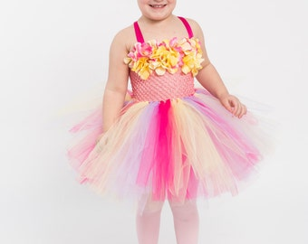 Flower girl dress - tutu dress - tulle dress - Pink yellow Tutu Dress - infant/Toddler Dress - Pageant dress - Princess dress - Dance- Pink