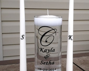 Personalized Wedding Floating Unity Candle Set- Choice of 7 designs