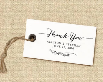 Thank You Stamp #1 - Wooden or Self-Inking - Calligraphy - Wedding Favors - Personalized — INCLUDES HANDLE