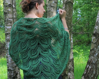 In the spring leaves (lace knit shawl) !FREE SHIPPING!