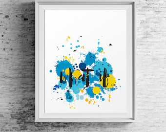 """Large Poster Art """"What If"""" Modern Art-Blue-Yellow-Black-Colourful Poster-Abstract Wall Art-Typography Art Inspiration-Wall Art Prints"""