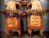 Made To Order--Primitive Folk Art Americana Eagle--Patriotic-Shelf Sitter-4th of July-Hafair Team, FAAP