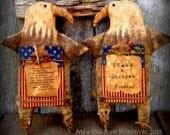 Made To Order--Primitive Folk Art Americana Eagle--Patriotic-Shelf Sitter-4th of July-Hafair Team, FAAP