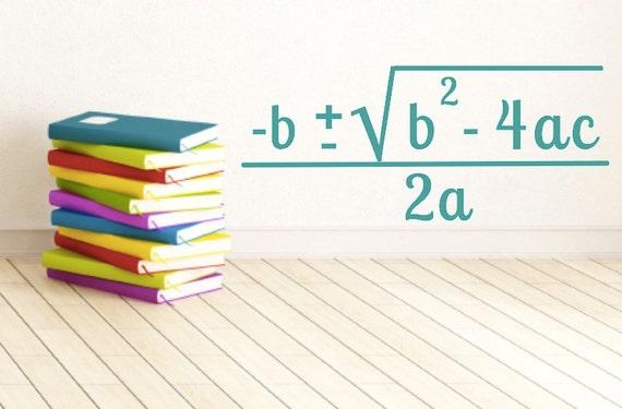 Math Classroom Decal Quadratic formula Math Teacher  Math Classroom ...