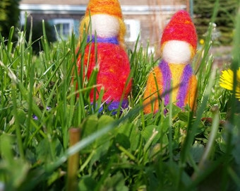 2 Needle felted wool gnomes, sister and brother, dolls, figures, ornaments, decorations, Waldorf