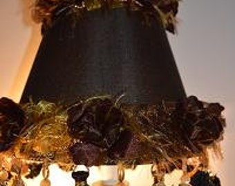 Fluffy lamp shade etsy black lamp shade fluffy gold black tassel beads o riginal shady lady shade handmade by aloadofball Gallery