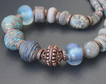 Artisan ceramic, lampwork and copper necklace / One of a kind / Rustic Tribal Artisan Boho / Grey  Blue  Earthy