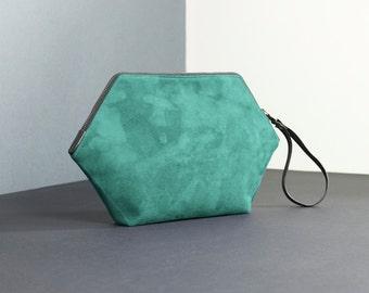Bridesmaid clutch, unconventional wedding purse, turquoise minimal handbag