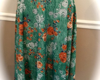 Fun 70's Polyester floral skirt size small