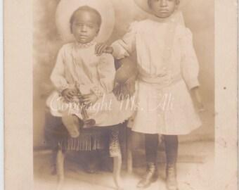 Vintage RPPC - Black Americana - Identified Children