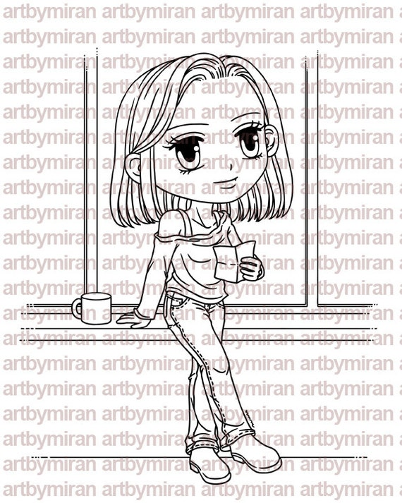 Digital Stamp - Afternoon Aileen, Digi Stamp, Coloring page, Printable Line art for Card and Craft Supply