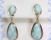 Larimar ~ Caribbean Blue Sterling Silver Earrings ~ Caribbeans Scarcest Gemstone Beach - FREE SHIPPING