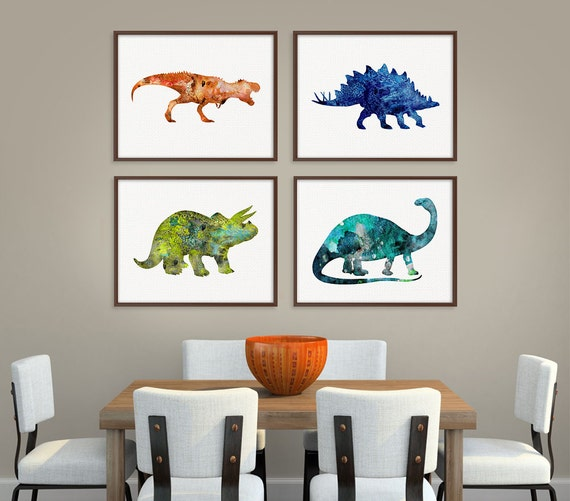 Dinosaur art print set of 4 prints dinosaur poster dinosaur for Dinosaur pictures for kids room
