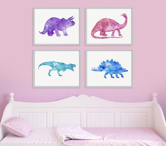 Dinosaur Print Set Girls Room Decor Girls Wall Art Baby