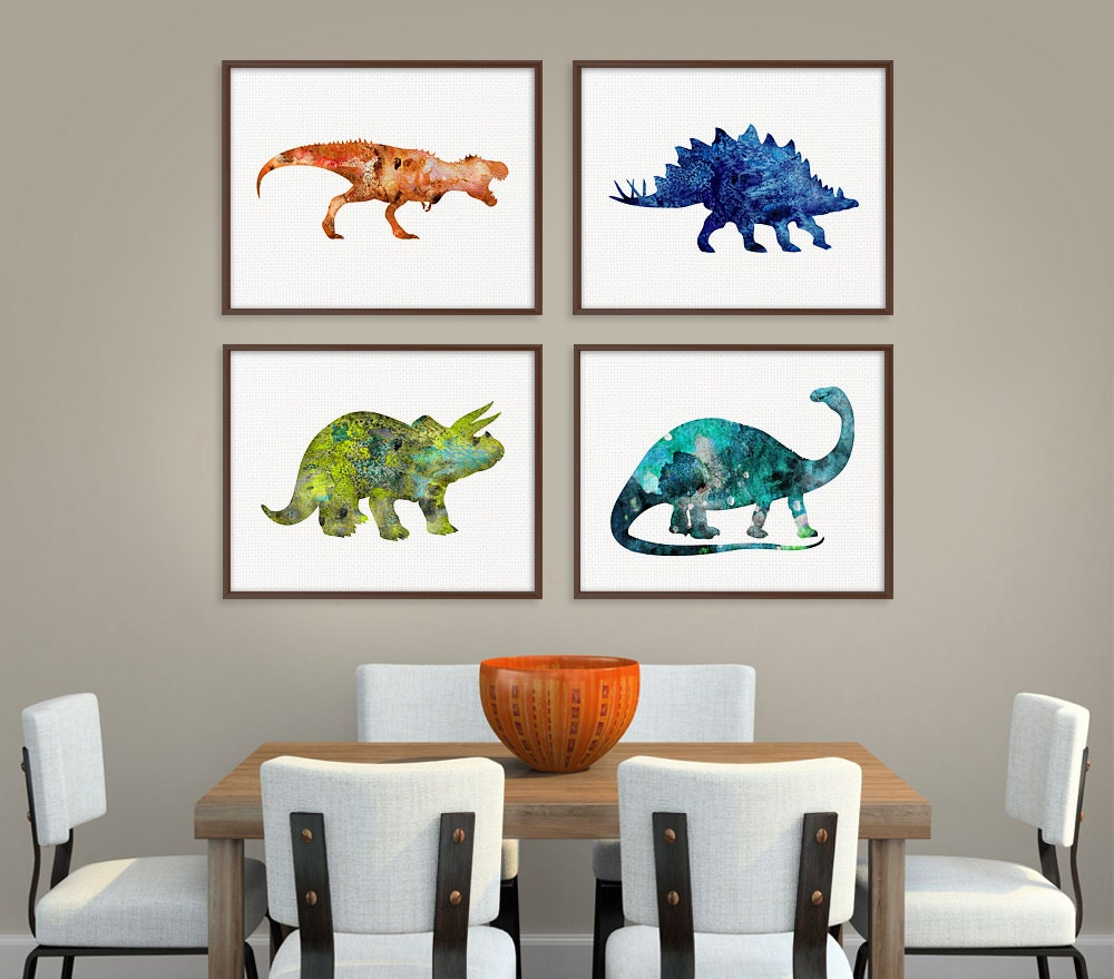 Dinosaur art print set of 4 prints dinosaur poster dinosaur for Kids room wall decor