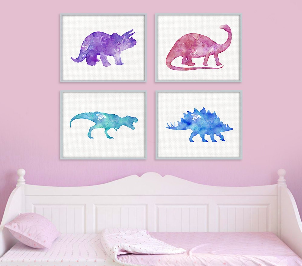 Dinosaur print set girls room decor girls wall art baby for Girls room wall decor