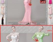 Light Pink Lace Satin Evening Dress - Mermaid Evening Dress with Short Train - Lace Peplum Maxi Dress - Long Sleeve Lace Dress 15N107