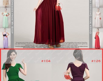 V Neck Maroon Maxi Dress with Flutter Cap Sleeves and Waist Yoke - V Back Maxi Dress - Purple Maxi Dress - Long Prom Dress -Chiffon Maxi-194