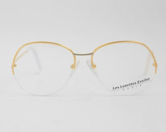 Vintage ESSILOR Nylor Half Rimless Eyeglasses / Gold Light Frame / Nerd Glasses / French Spectacle Frames / France - 80s