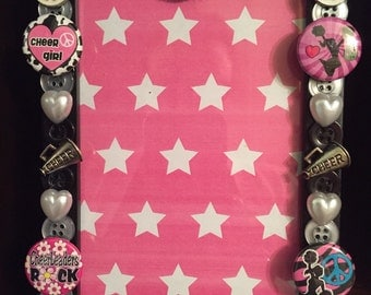 Cheer button Picture frame, holds 4 x 6 photo