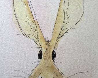 Isabelle the Hare - original watercolour painting