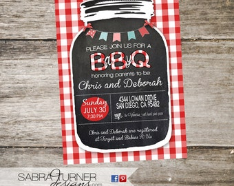Rustic Baby-Q Invitation • Mason Jar Baby Shower Invitation • Baby-Q Shower Invitation • Western Baby Shower Invitation • 5x7