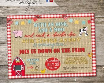 Farm Birthday Party Invitation • Farm Animal Birthday Party Invitation • Farm Birthday Party • 5x7