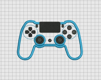 Video Game Controller Sony Playstation PS4 Style Applique Embroidery Design in 4x4 and 5x7 Sizes