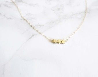 Star Necklace - Tiny Puffy Stars - Gold Stars