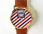 Barber Shop Watch  Vintage Style Leather Watch, Women Watches, Unisex Watch, Boyfriend Watch, Red Blue
