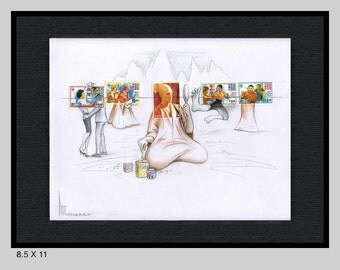 Original, framed KUNG FU extended stamp portrait by Dave Woodman