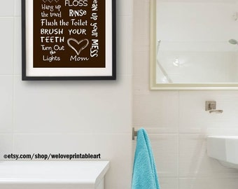 Bathroom Artwork. Brown Kids Bathroom Decor Art Artwork Printable Print Instant  Download Wall Quote Sign for Child s