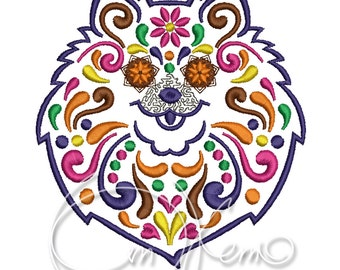 MACHINE EMBROIDERY DESIGN - Calavera Pomeranian spitz, Dia de los muertos, Mexican design, Halloween design, calavera dog, Day of the dead
