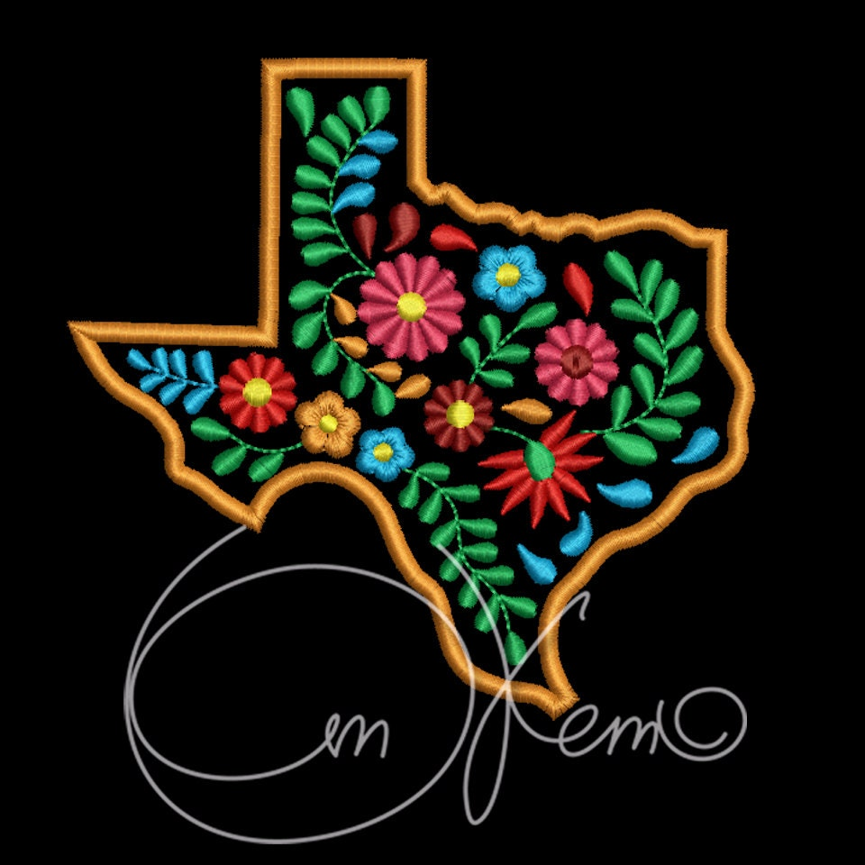 Machine embroidery design texas state mexican
