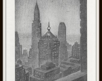 New York Art Print, New York City Skyline, 8 x 10 Black and White Art, 1960s Vintage Book Plate, Home Decor, Wall Art