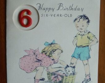 Vintage Happy Birthday 6 Year Old Card - Six Year Old Birthday Vintage Card - 1940's Vintage Sixth Birthday Card - Sixth Birthday Cat Card