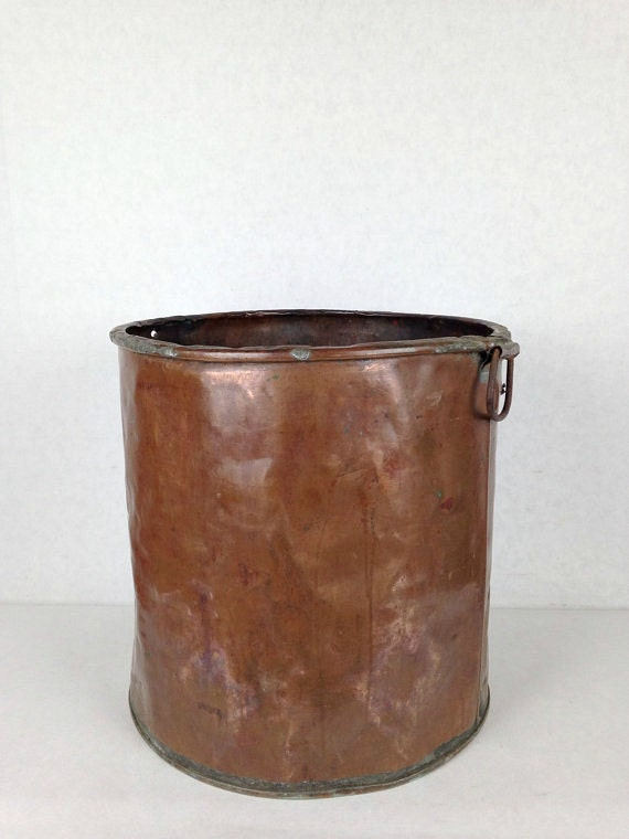 Antique copper bucket vintage metal bucket industrial for Old metal buckets