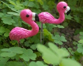 Pair of Miniature Flamingos! Fairy Garden, Cake Topper, Terrarium, Dollhouse Miniature Garden