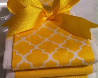 Stylish Yellow Burp Cloths, Baby Shower Gift