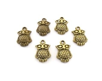Charms 6 Antique Brass Fat Belly Owls