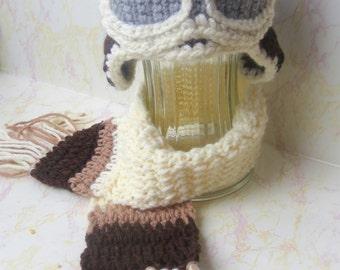 Aviator Hat and Scarf Set - Aviator Photo Prop Set - Crochet Aviator Hat - Photo Prop outfit - Baby Boy Photo Prop - Aviator goggles hat