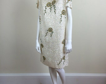 ivory white hand beaded & sequined T shirt dress w/ abstract floral beading 60's