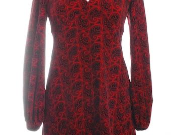Vintage Handmade Velvet Paisley Mini Dress 10 - www.brickvintage.com