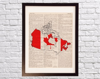 Canada Dictionary Art Print - Maple Leaf Art - Print on Vintage Dictionary Paper - Canadian Flag, Any Color - Toronto, Ottawa, Vancouver