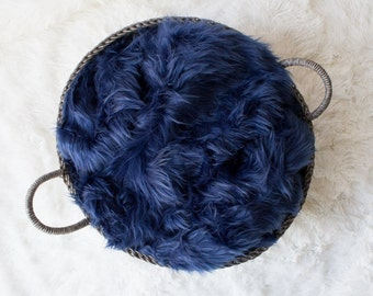 RTS...LARGE.. Blue Faux Fur Prop, Long Faux Fur, Dark Blue Faux Fur, Newborn Photo PRop. Ready to Ship.
